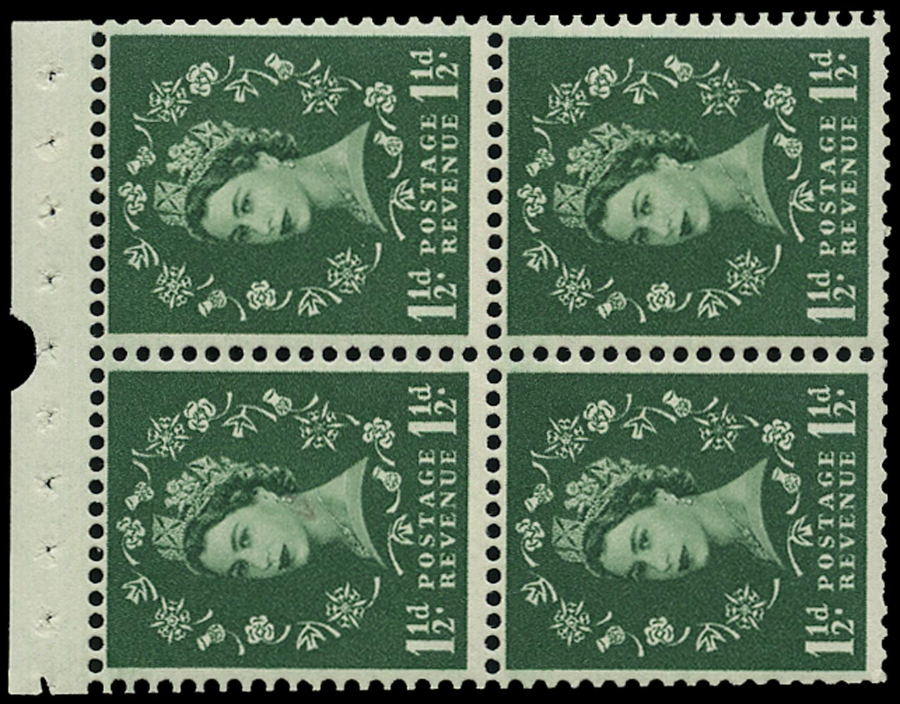 GB 1961  SG572mb Booklet pane - Wmk. Sideways 'Crowns to right', Perf. type I