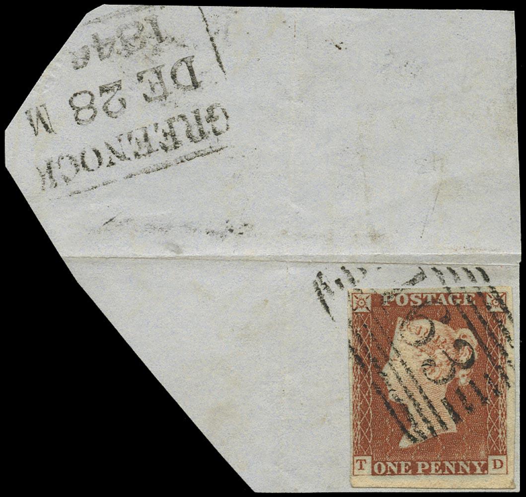 GB 1841  SG8 Pl.43 Used VFU example lettered TD, Greenock