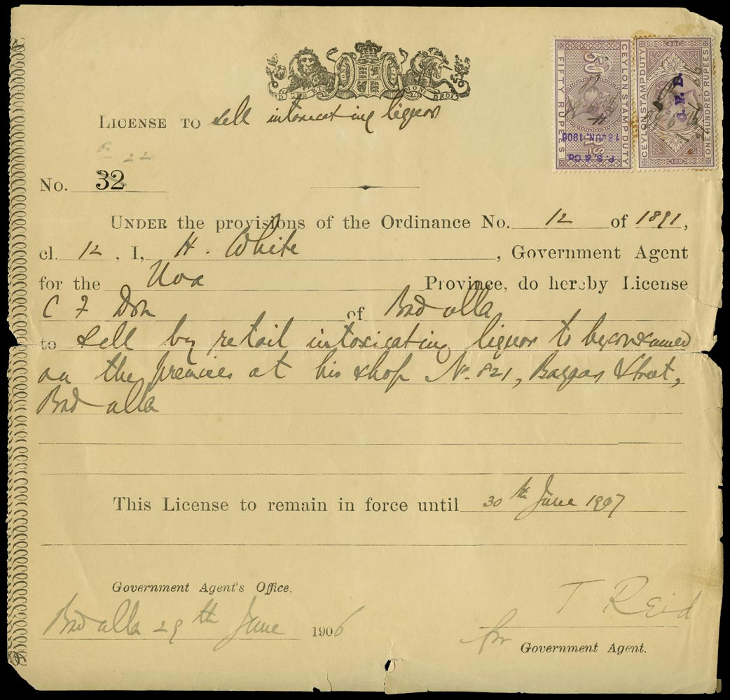 CEYLON 1906 Revenue Stamp Duty 1906 Alcohol license