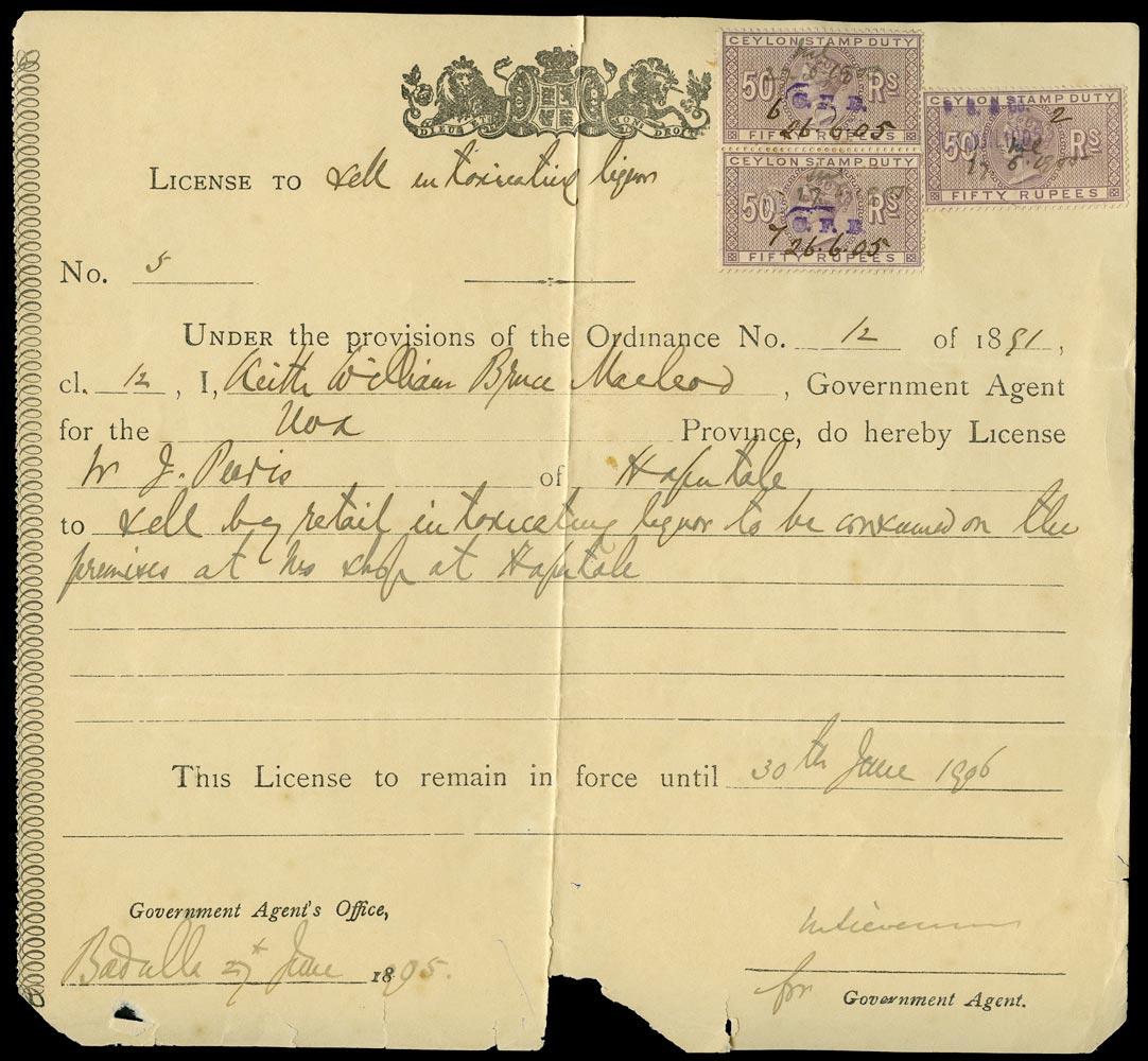 CEYLON 1905 Revenue Stamp Duty 1905 Alcohol license