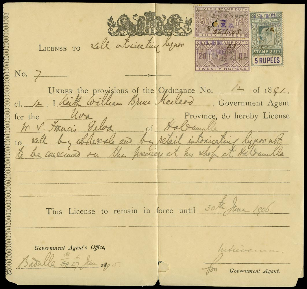CEYLON 1905 Revenue Stamp Duty 1905 Alcohol license