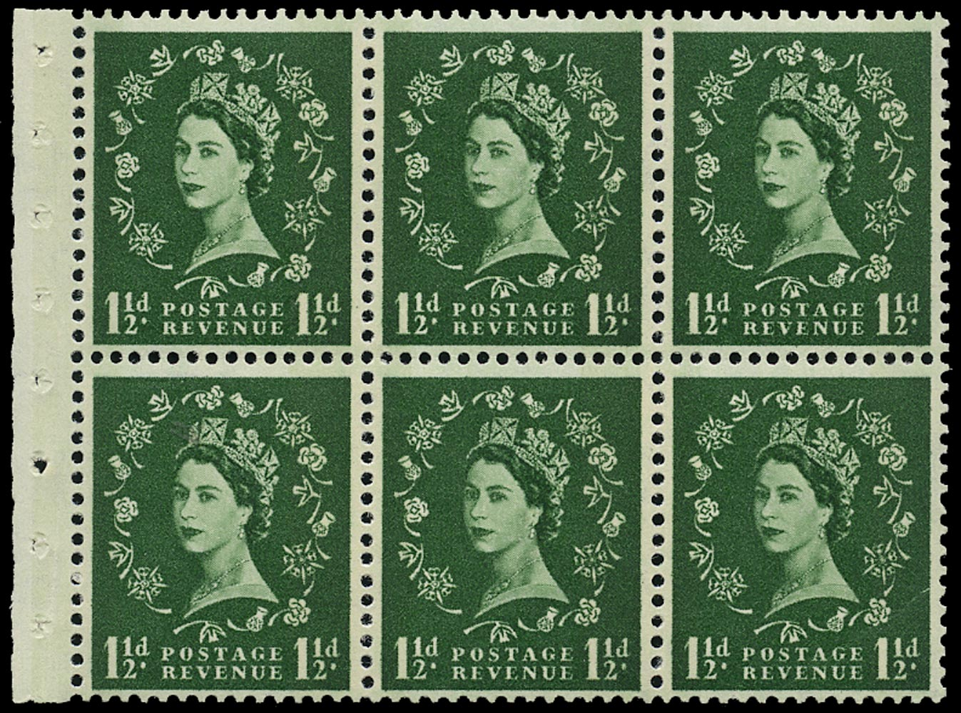 GB 1960  SG612l Booklet pane - Wmk. Crowns, Green Phosphor