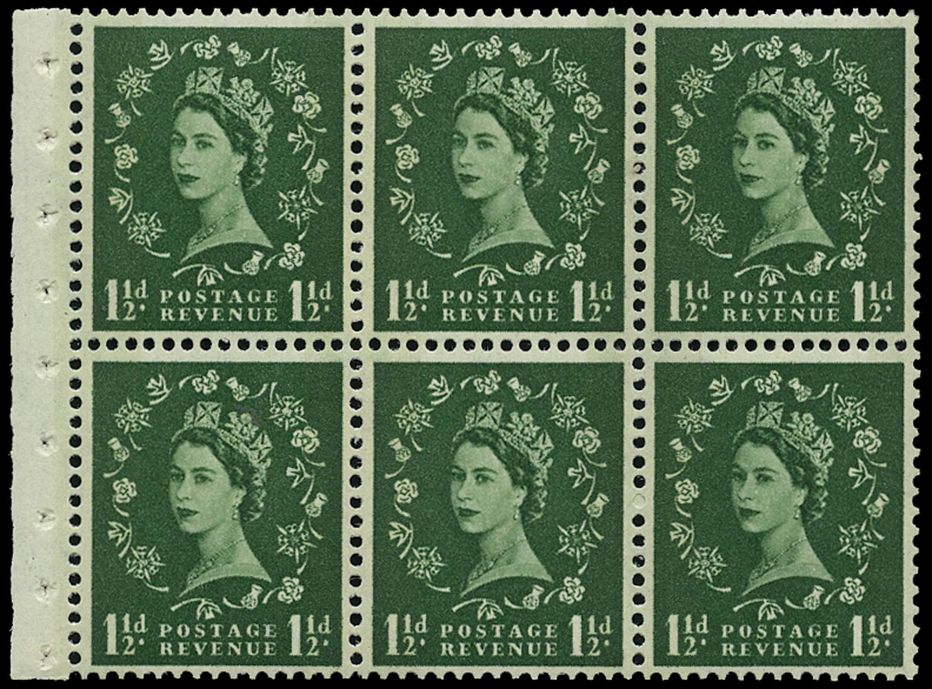 GB 1961  SG612l Booklet pane - Wmk. Crowns, Blue Phosphor