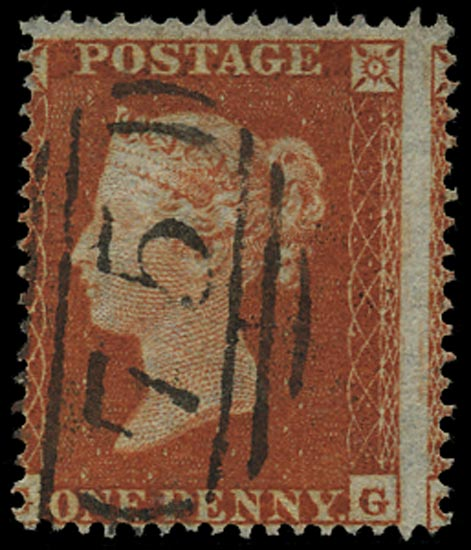 GB 1854  SG17var Pl.192 Used Orange-brown, VFU example lettered GG