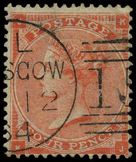 GB 1863  SG81 Pl.4 Used Glasgow duplex