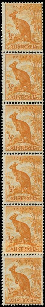 AUSTRALIA 1948  SG228cb Mint unmounted ½d orange Kangaroo coil strip with Sky retouch variety