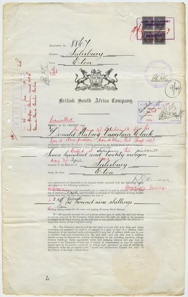RHODESIA 1917  SG255u Revenue £1 Admiral Die IIIA revenue usage