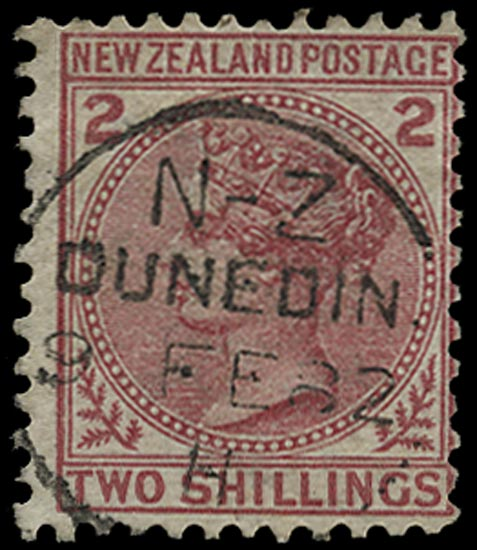 NEW ZEALAND 1878  SG185 Used 2s deep rose first sideface issue