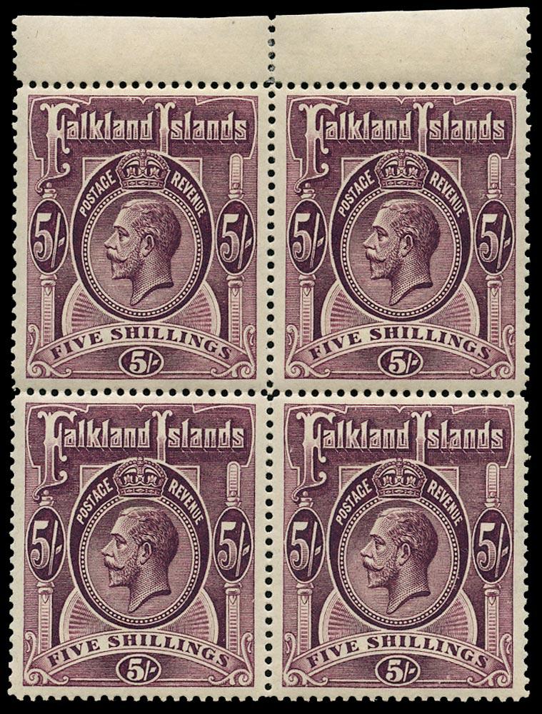 FALKLAND ISLANDS 1912  SG67b Mint Block of Four