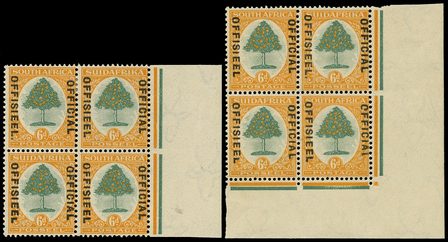 SOUTH AFRICA 1929  SGO9/a/b, var Official