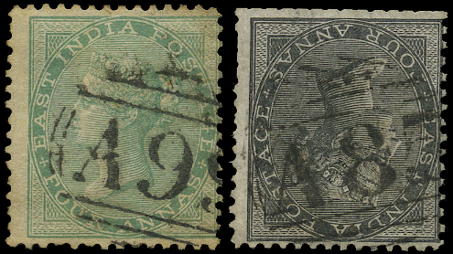 INDIA 1856  SG45, 64 Cancel P&O Mailboat cancellations