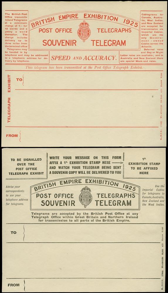 GB 1925 Postal Stationery Pair of unused 1925 BEE Telegram forms