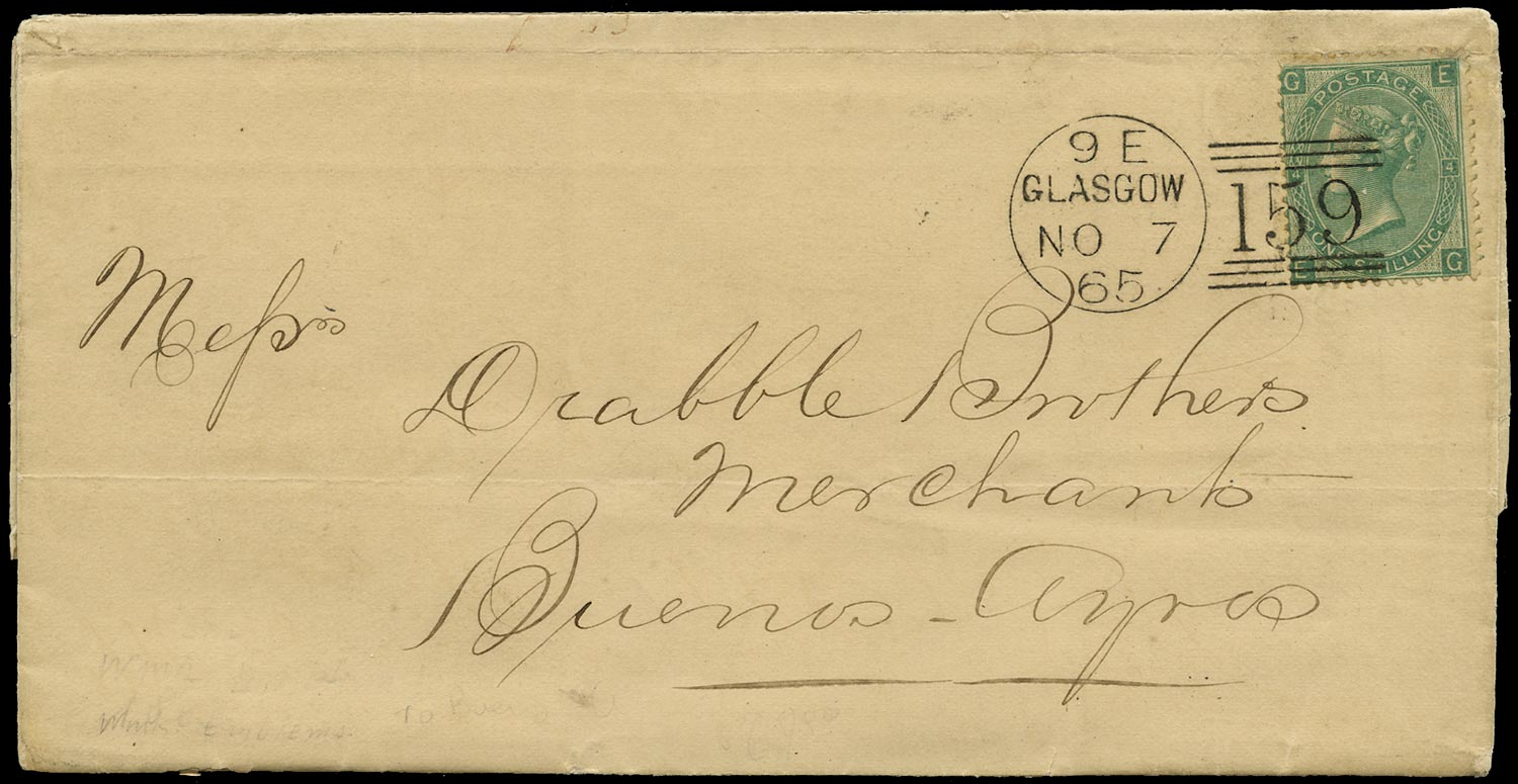 GB 1865  SG101 Pl.4 Cover - Overseas Mail to Buenos Aires, Argentina