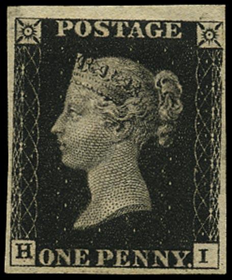 GB 1840  SG1 Pl.6 Penny Black unused o.g. example