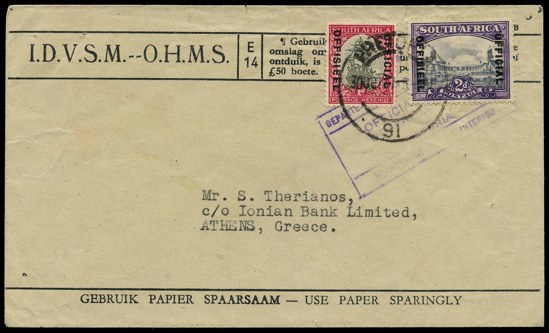 SOUTH AFRICA 1947  SGO36a, O21aw Official