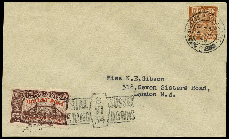 GB 1934  SG420 Cinderella -  South Downs, Zucker Rocket Post