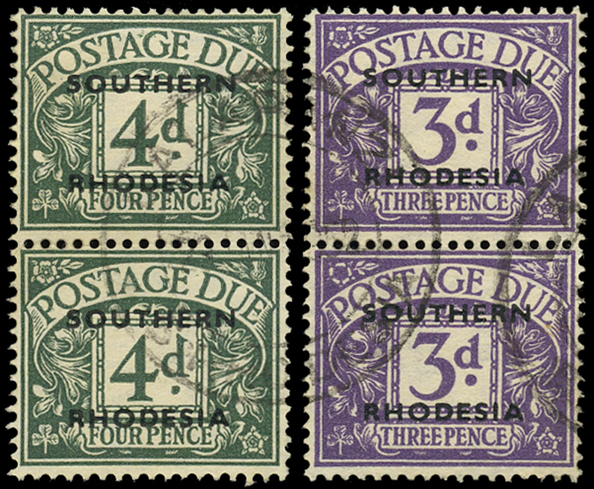 SOUTHERN RHODESIA 1951  SGD6 Postage Due 4d dull grey-green pair used at Lalapanzi