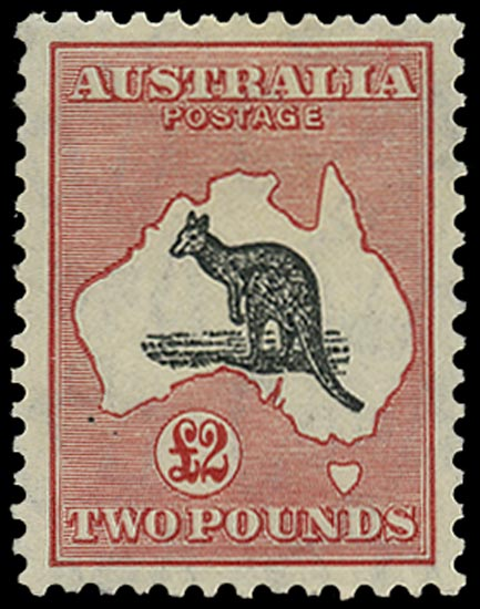 AUSTRALIA 1931  SG138 Mint £2 black and rose Kangaroo watermark C of A