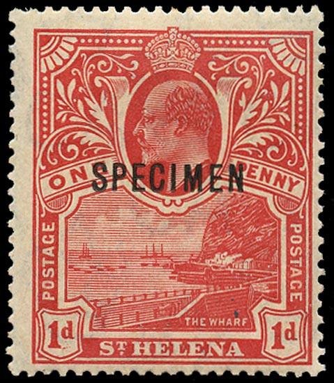 ST HELENA 1911  SG71s Specimen KEVII unissued 1d red Wharf overprinted for UPU distribution