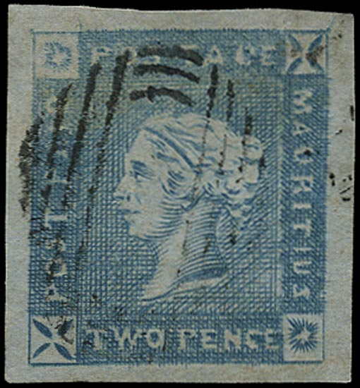 MAURITIUS 1859  SG37 Used Lapirot 2d blue on bluish paper early impression