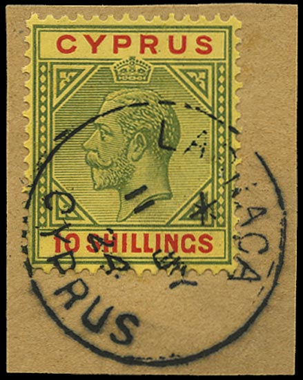 CYPRUS 1921  SG100 Used 10s green and red on pale yellow paper