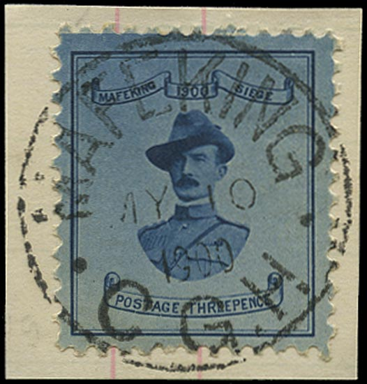 C.G.H. - MAFEKING 1900  SG19 Used 3d pale blue on blue paper Baden-Powell