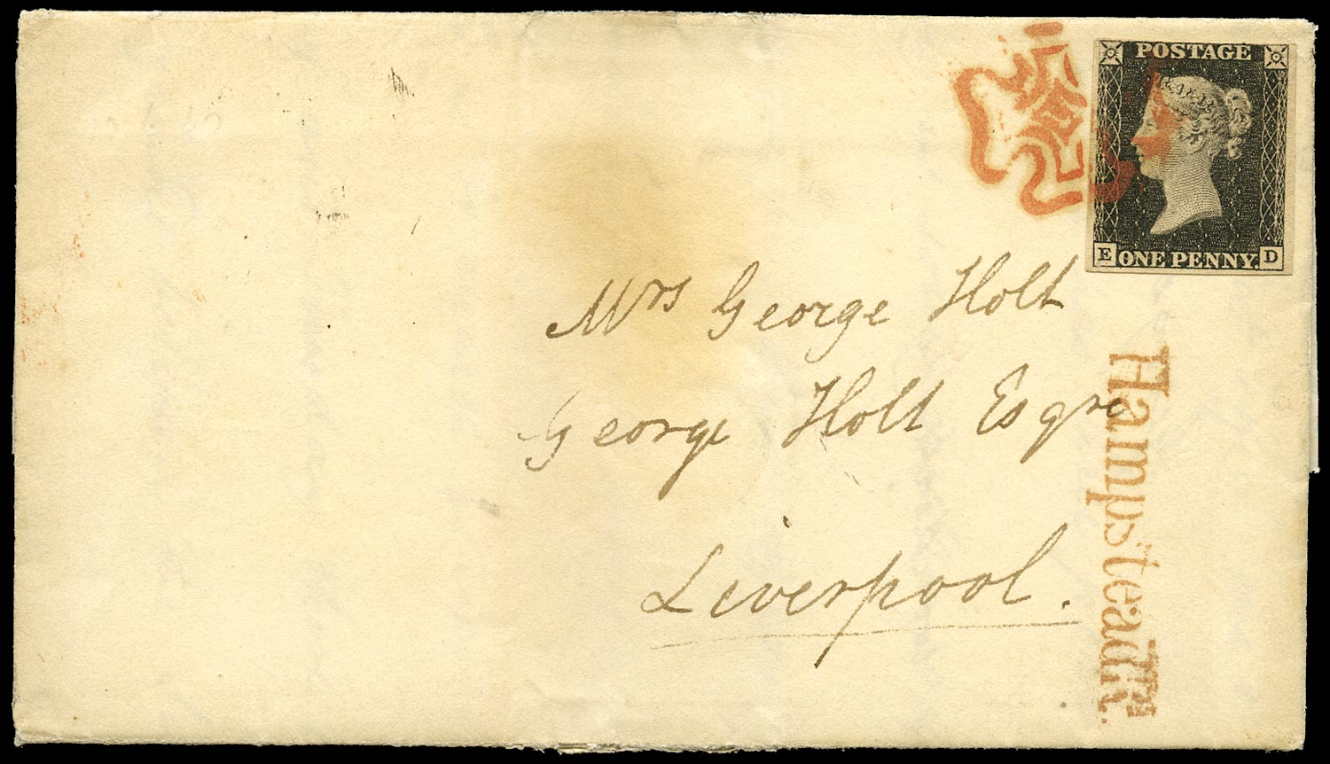 GB 1840  SG2 Pl.1a Cover London to Liverpool