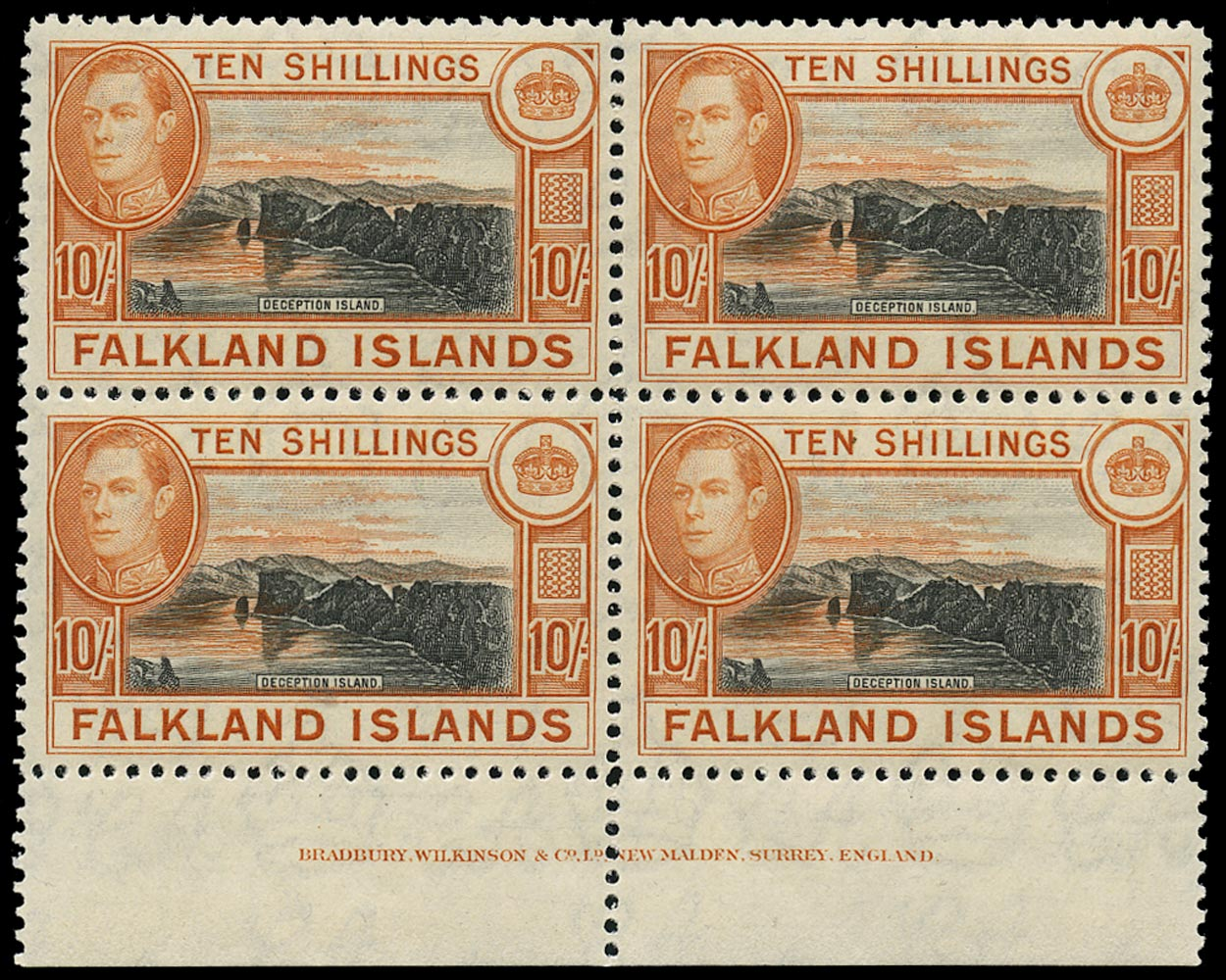 FALKLAND ISLANDS 1938  SG162b Mint unmounted 10s black and red-orange on greyish paper imprint block