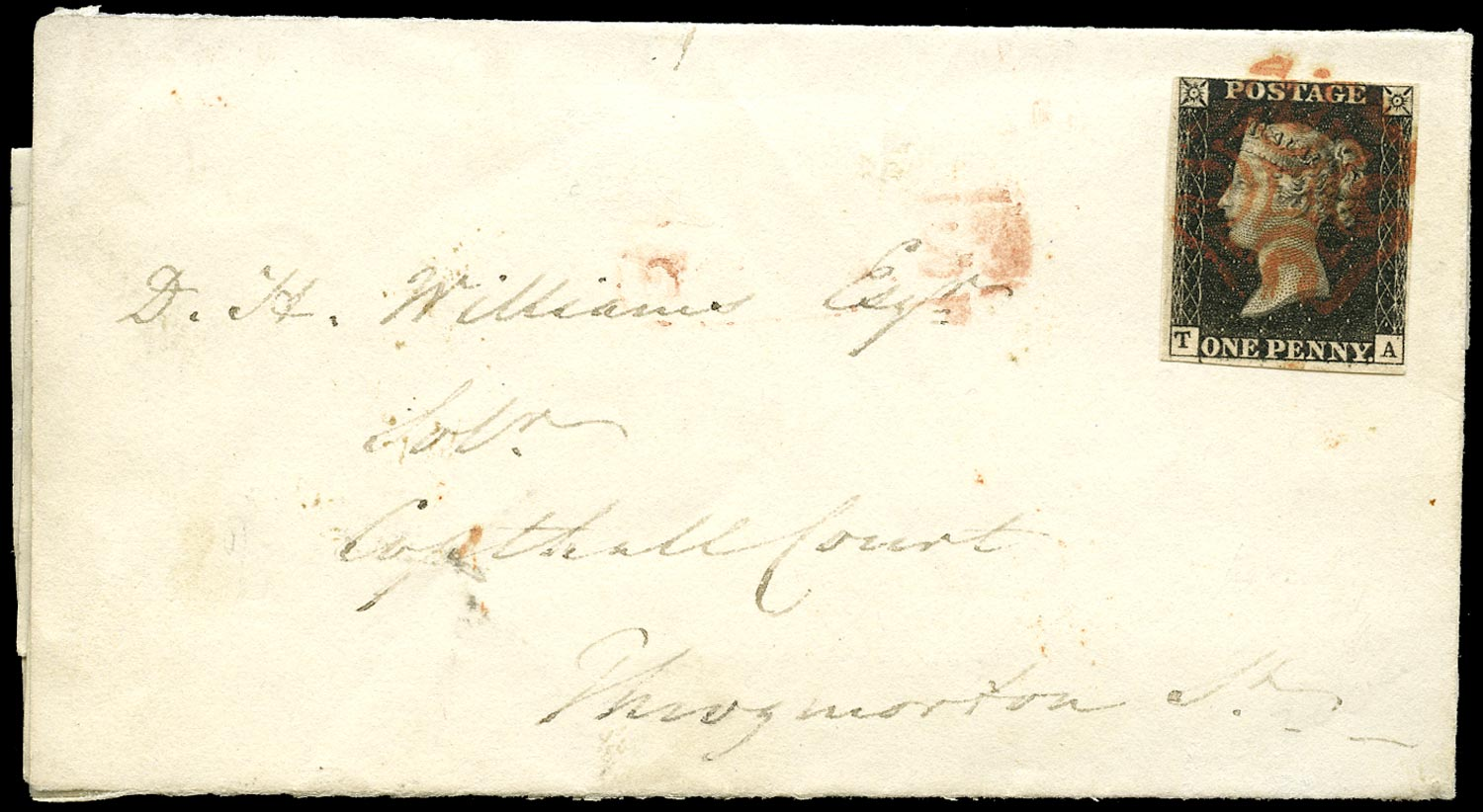 GB 1840  SG1 Pl.8 Cover - sent locally within London, showing Re-entry
