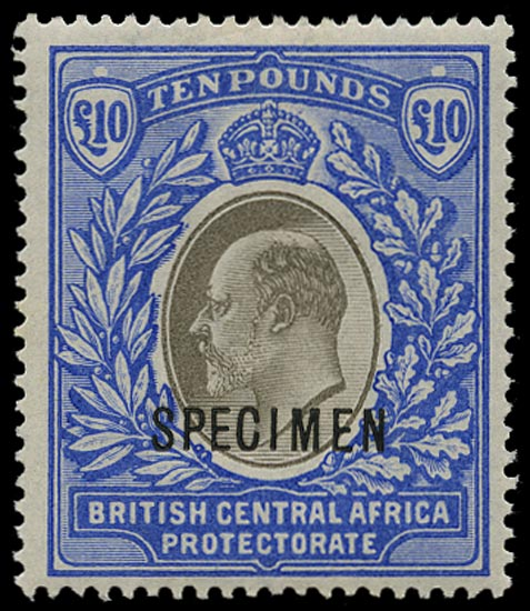 NYASALAND 1903  SG67s Specimen £10 Grey and Blue