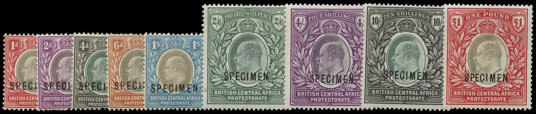 NYASALAND 1903  SG59s/66s Specimen Set of 9 to £1