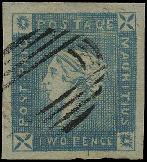 MAURITIUS 1859  SG37 Used Lapirot 2d blue on greyish paper early impression