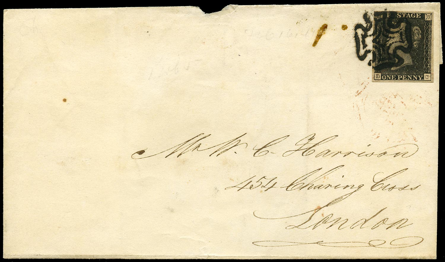 GB 1840  SG2 Pl.5 Penny Black - Bolton to London, (Second repair, State 3).