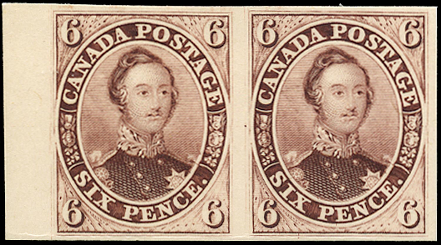 CANADA 1852  SG9 Proof of 6d Prince Albert in red-purple on India paper