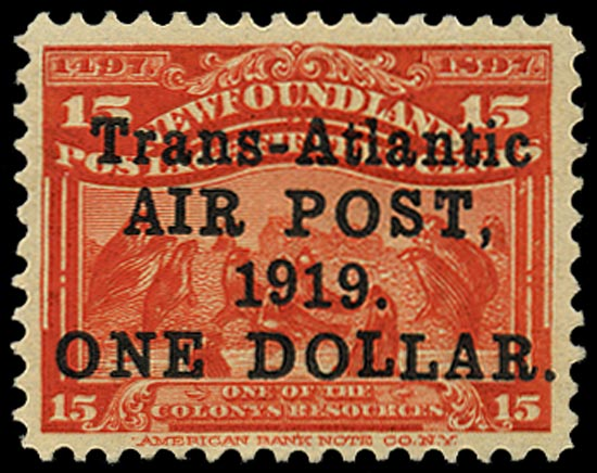 NEWFOUNDLAND 1919  SG143 Mint Air $1 on 15c bright scarlet Alcock and Brown Trans-Atlantic flight