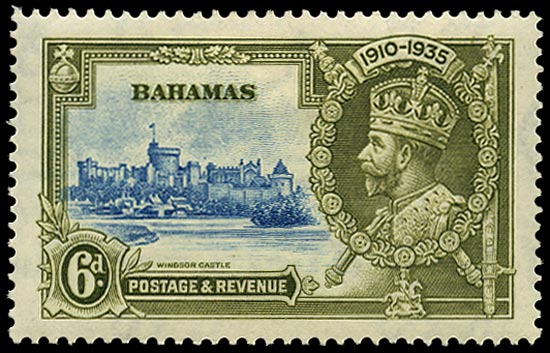 BAHAMAS 1935  SG143g Mint Silver Jubilee 6d variety Dot to left of Chapel