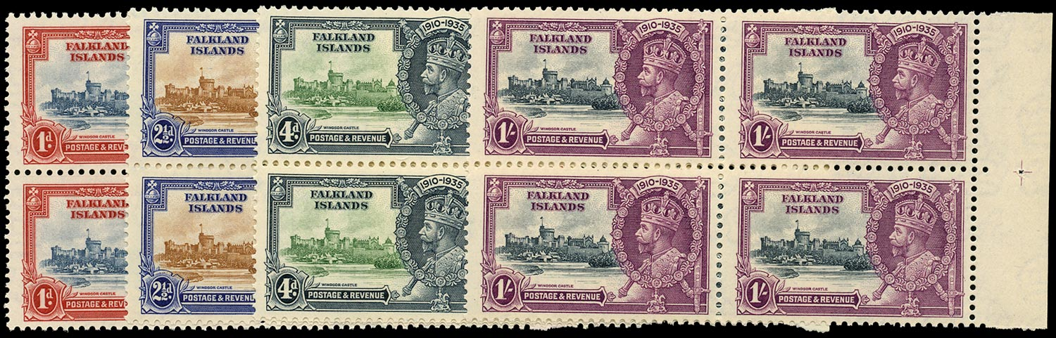 FALKLAND ISLANDS 1935  SG139/42 Mint unmounted Silver Jubilee set of 4 in matching blocks of 4