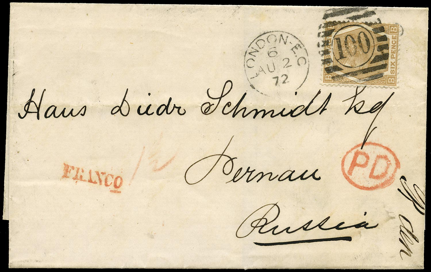 GB 1872  SG122a Pl.11 Cover - Overseas Mail to Pernau, Russia (Estonia)