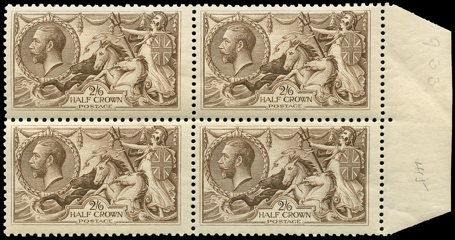 GB 1918  SG413a Mint unmounted o.g. block of four