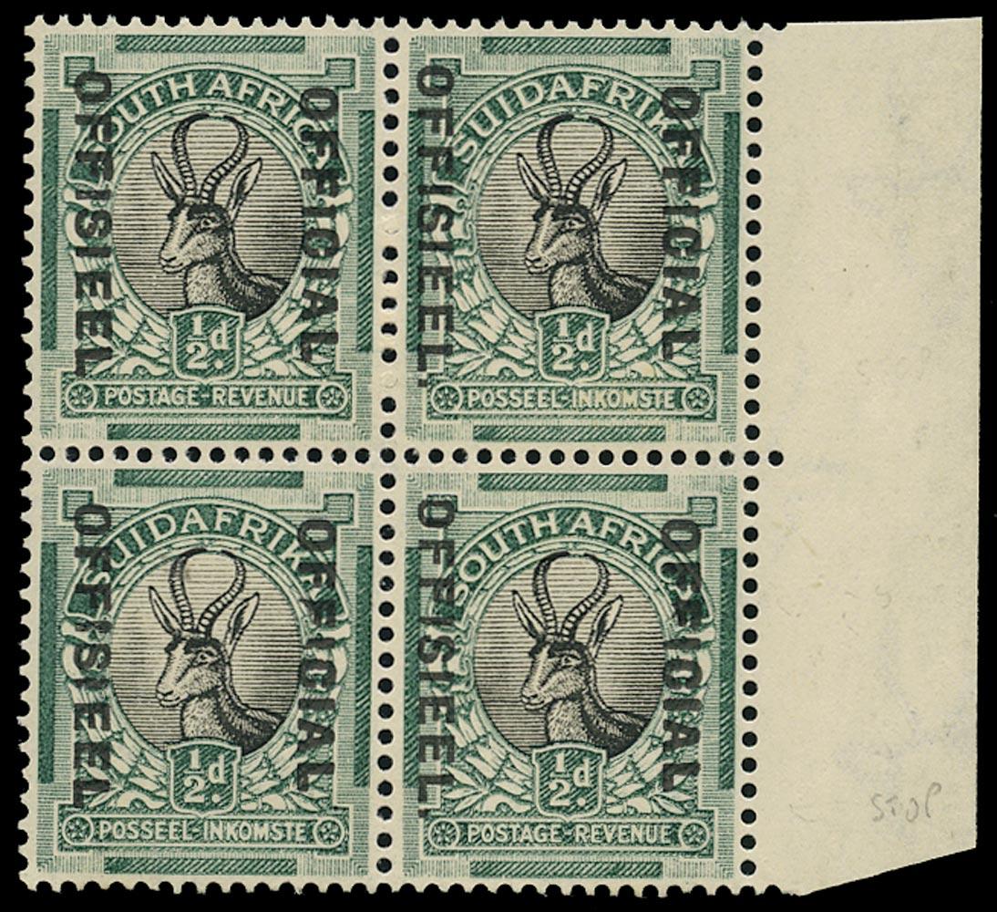 SOUTH AFRICA 1930  SGO12a/b, var Official