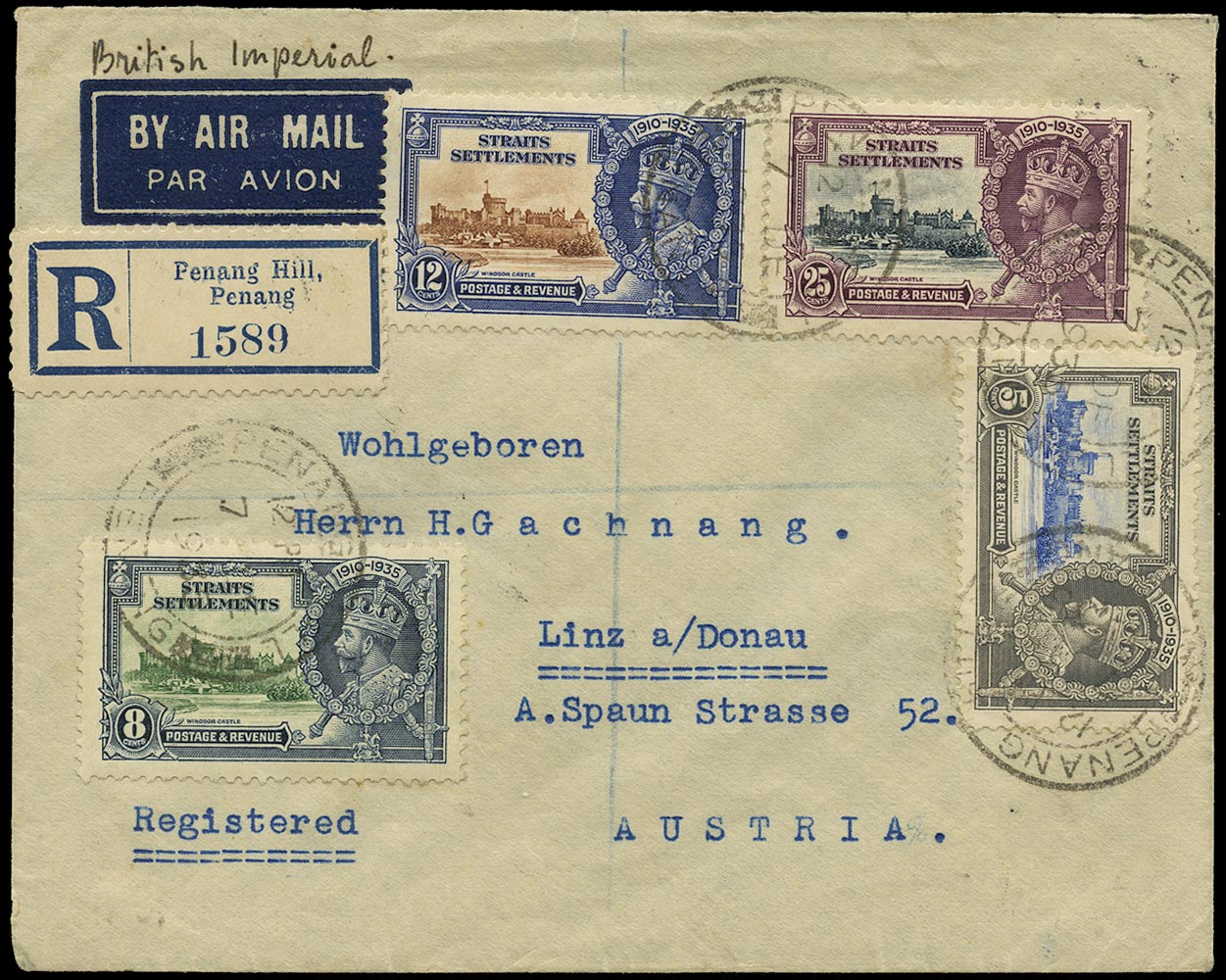 MALAYA - STRAITS 1935  SG256/59 Cover from Penang Hill to Austria with 1935 Silver Jubilee franking