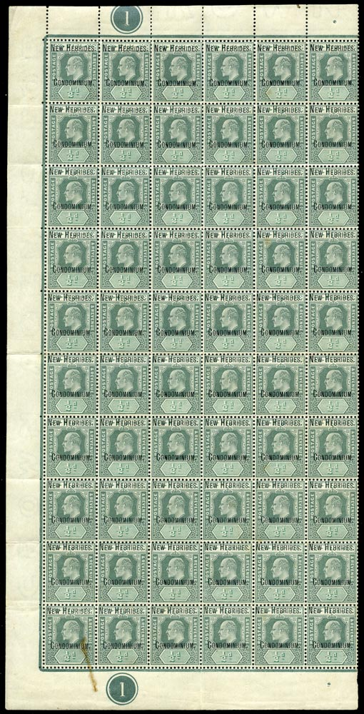 NEW HEBRIDES 1908  SG4 var Mint unmounted KEVII ½d green and grey-green watermark CA variety Damaged frame and crown