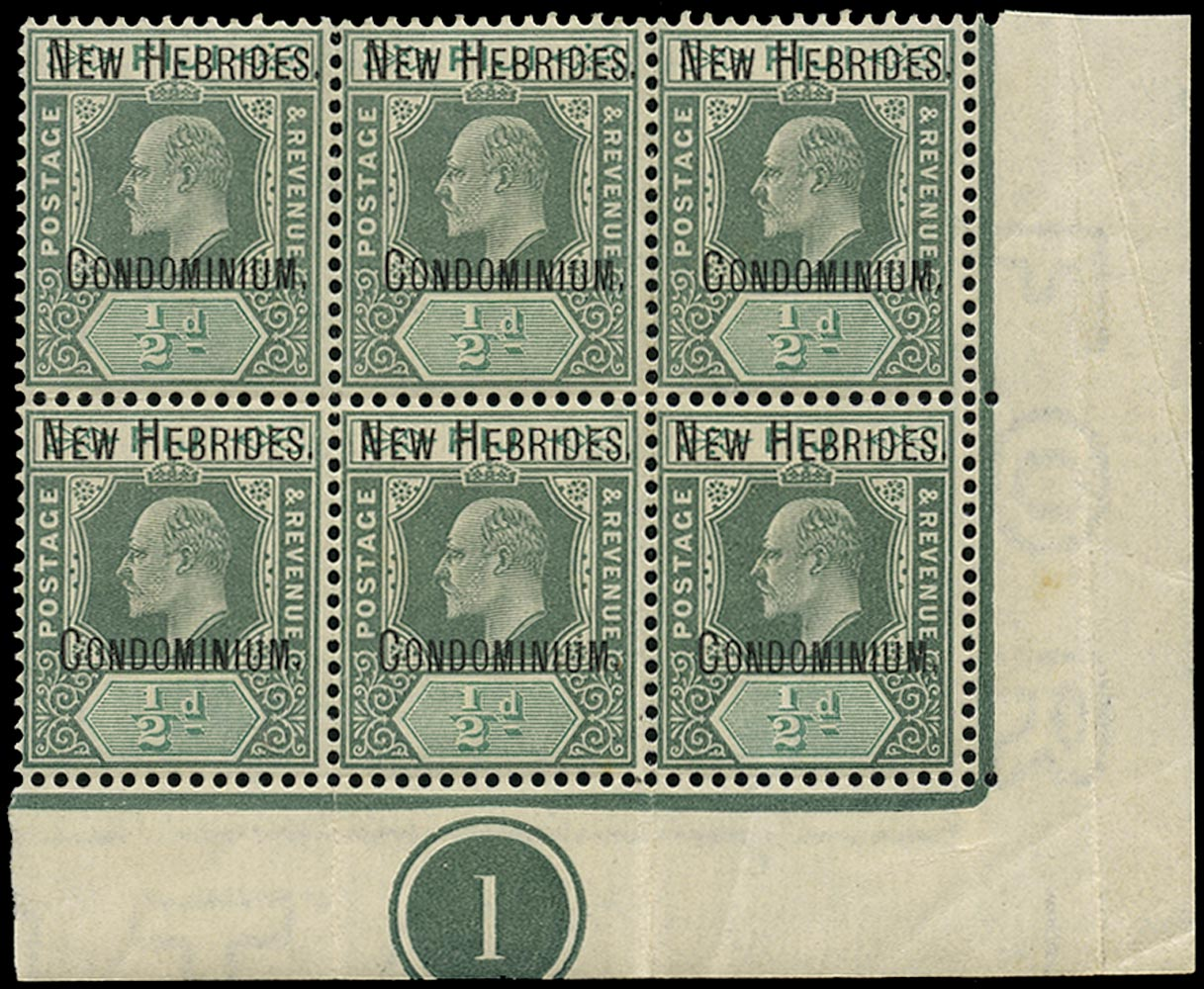NEW HEBRIDES 1908  SG4 Mint unmounted KEVII ½d green and grey-green watermark CA
