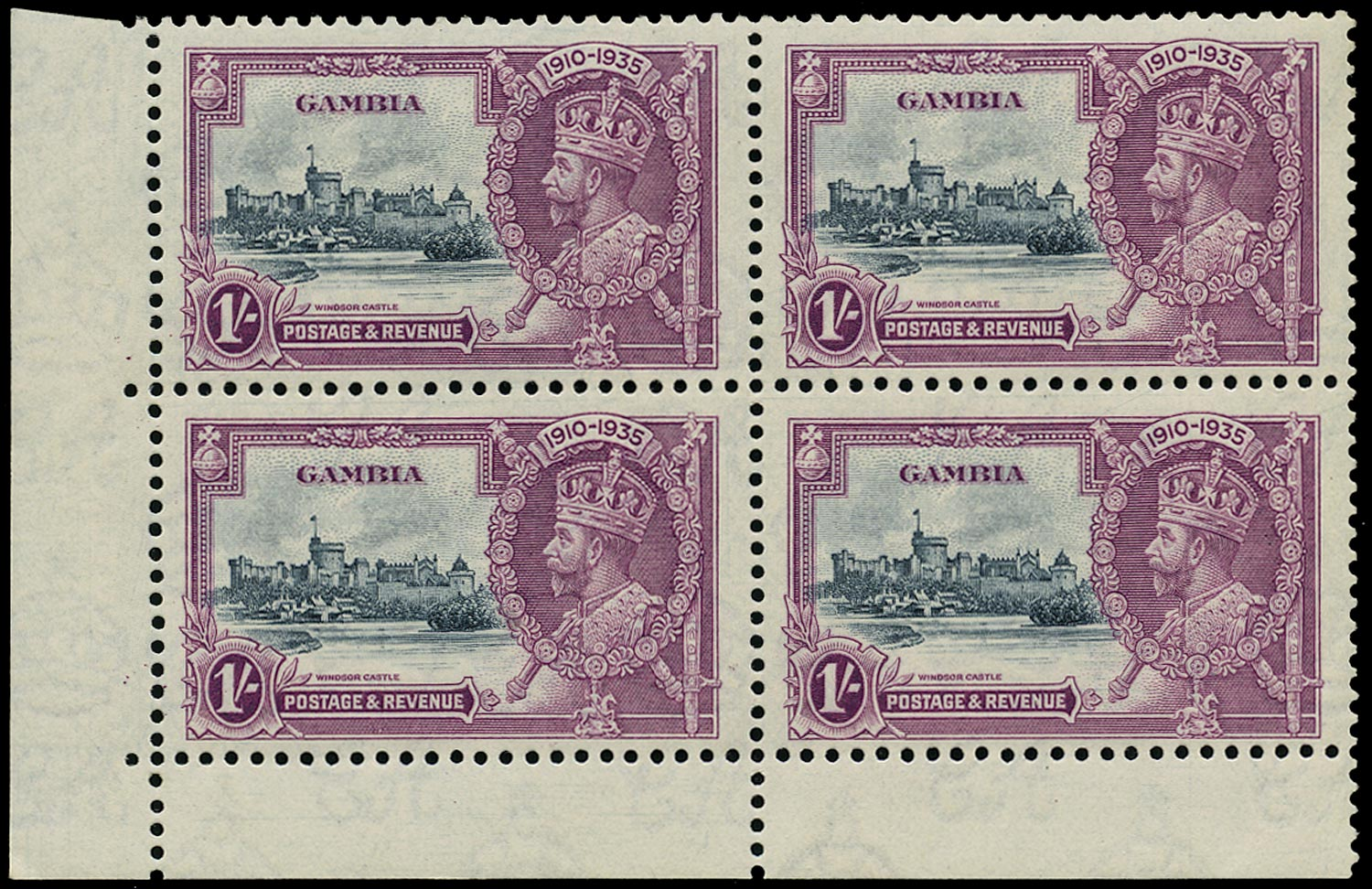 GAMBIA 1935  SG146a var Mint Silver Jubilee 1s variety Extra flagstaff partially erased