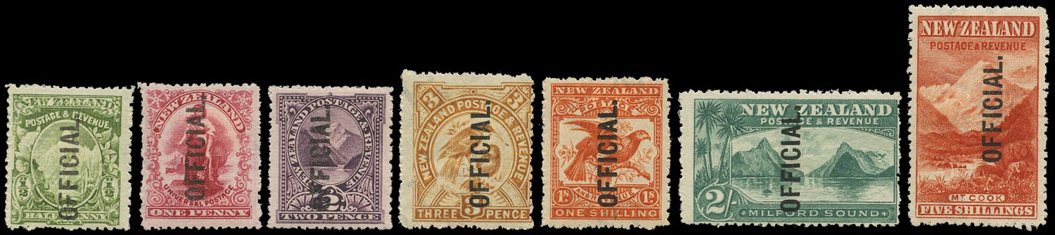 NEW ZEALAND 1907  SGO59/67 Official single watermark set of 7 to 5s