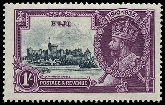 FIJI 1935  SG245f Mint Silver Jubilee 1s variety Diagonal line by turret