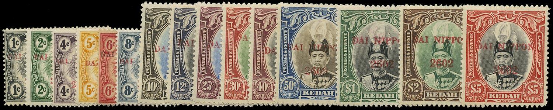 MALAYA JAP OCC 1942  SGJ1/15 Mint Kedah DAI NIPPON complete set
