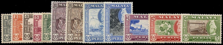 MALAYA - PERLIS 1957  SG29/40 Mint