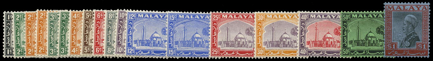 MALAYA - SELANGOR 1935  SG68/83 Mint unmounted set to $1 including 3c striated paper