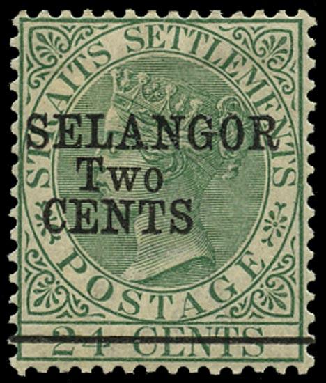 MALAYA - SELANGOR 1891  SG47 Mint 2c on 24c green type 38 surcharge
